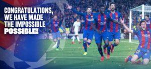 """""""ברכות, הפכנו את הבלתי אפשרי לאפשרי"""". מתוך עמוד הפייסבוק של ברצלונה"""