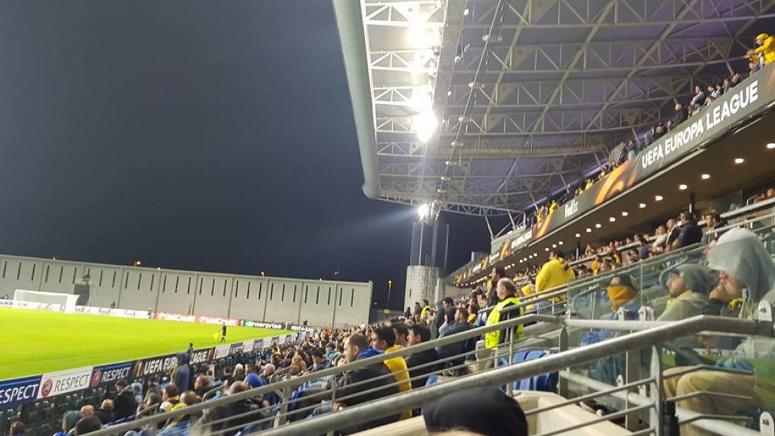 היציע הצהוב המפולג במשחק נגד סלביה. צילום: דור כהן